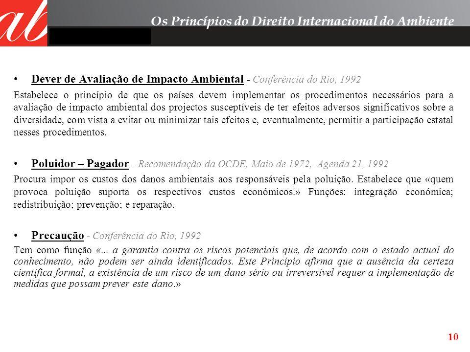 Dever de Avaliação de Impacto Ambiental - Conferência do Rio, 1992 Estabelece o princípio de que os países devem implementar os procedimentos necessár