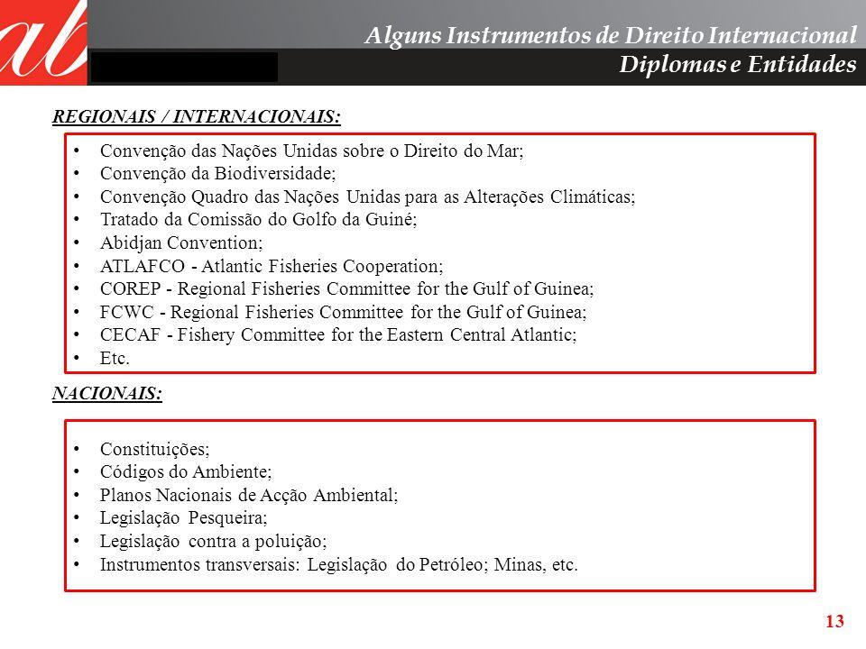 13 REGIONAIS / INTERNACIONAIS: NACIONAIS: Convenção das Nações Unidas sobre o Direito do Mar; Convenção da Biodiversidade; Convenção Quadro das Nações