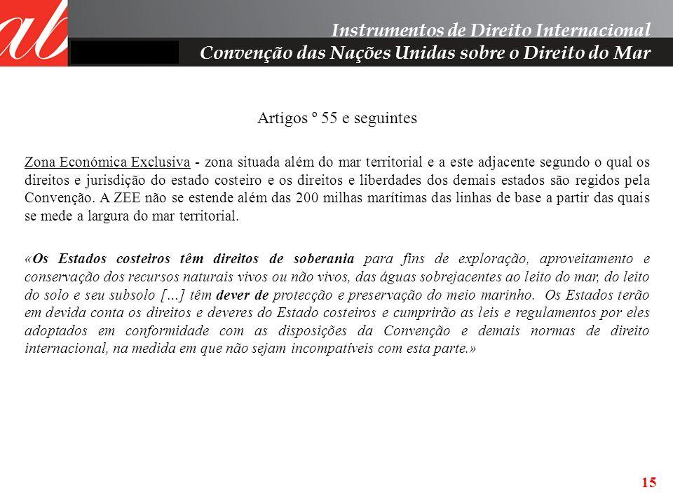 15 Artigos º 55 e seguintes Zona Económica Exclusiva - zona situada além do mar territorial e a este adjacente segundo o qual os direitos e jurisdição