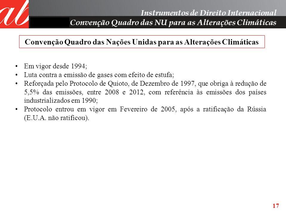 17 Instrumentos de Direito Internacional Convenção Quadro das NU para as Alterações Climáticas Convenção Quadro das Nações Unidas para as Alterações C