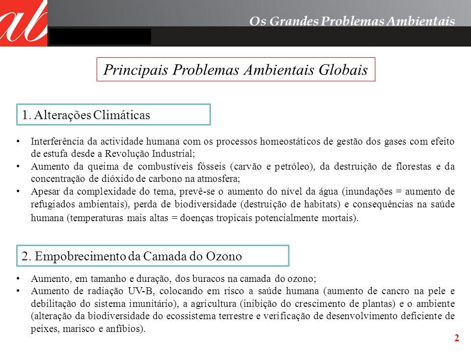 2 Os Grandes Problemas Ambientais Principais Problemas Ambientais Globais 1. Alterações Climáticas 2. Empobrecimento da Camada do Ozono Interferência