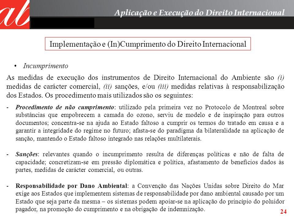 24 Incumprimento Aplicação e Execução do Direito Internacional Implementação e (In)Cumprimento do Direito Internacional As medidas de execução dos ins