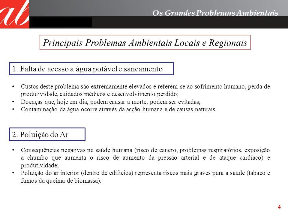 4 Principais Problemas Ambientais Locais e Regionais Os Grandes Problemas Ambientais 1. Falta de acesso a água potável e saneamento 2. Poluição do Ar