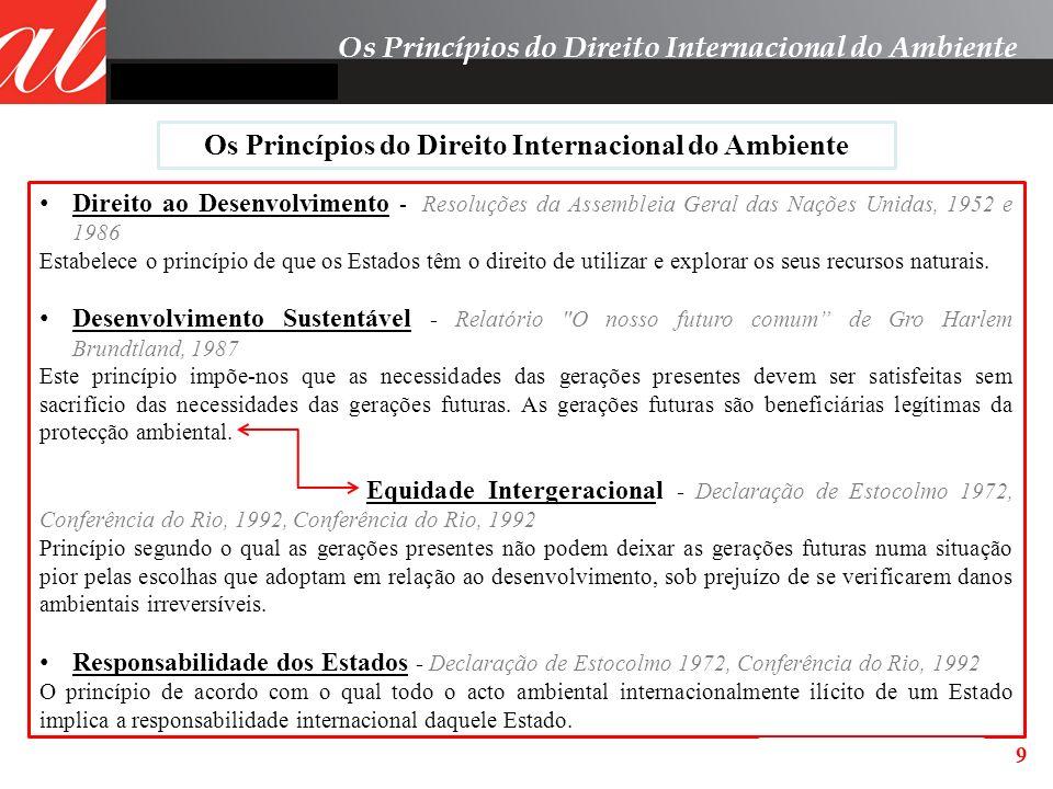 9 Os Princípios do Direito Internacional do Ambiente Direito ao Desenvolvimento - Resoluções da Assembleia Geral das Nações Unidas, 1952 e 1986 Estabe