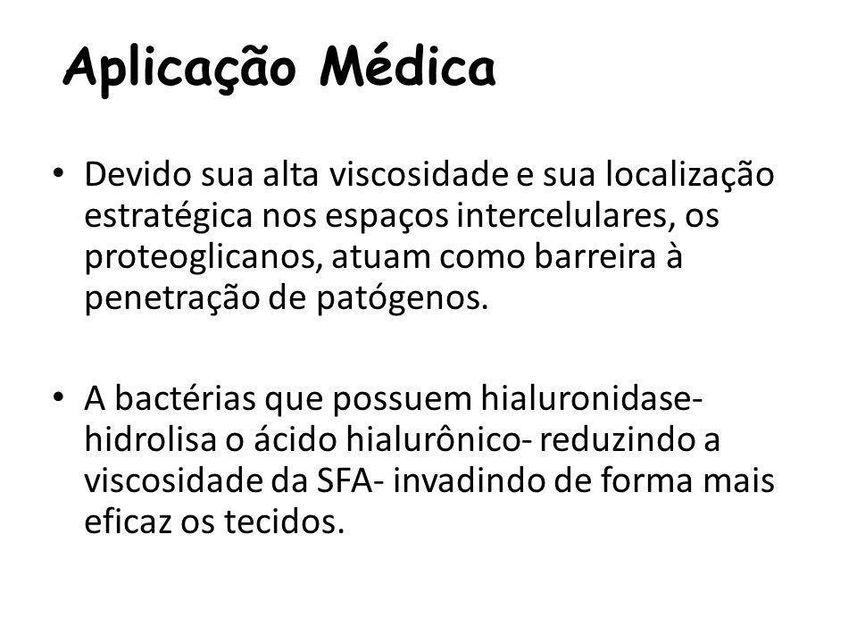 Aplicação Médica Devido sua alta viscosidade e sua localização estratégica nos espaços intercelulares, os proteoglicanos, atuam como barreira à penetr