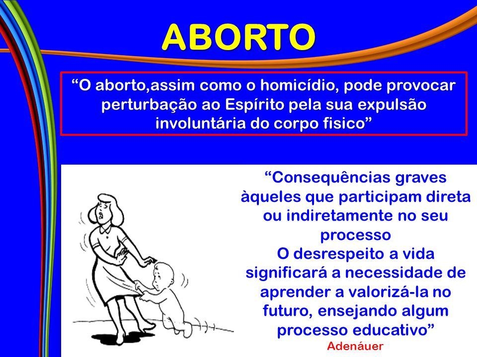 ABORTO O aborto,assim como o homicídio, pode provocar perturbação ao Espírito pela sua expulsão involuntária do corpo fisico Consequências graves àque