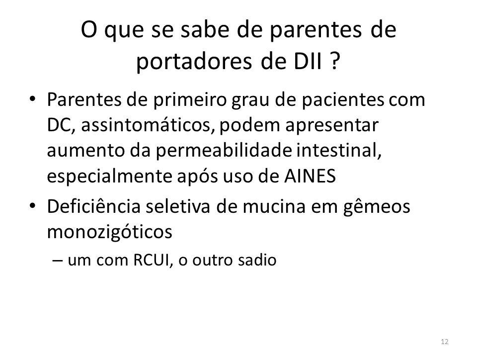 O que se sabe de parentes de portadores de DII ? Parentes de primeiro grau de pacientes com DC, assintomáticos, podem apresentar aumento da permeabili