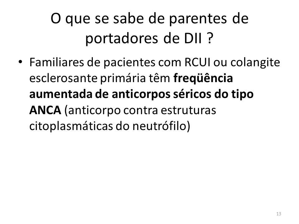 O que se sabe de parentes de portadores de DII ? Familiares de pacientes com RCUI ou colangite esclerosante primária têm freqüência aumentada de antic