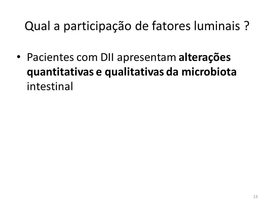 Qual a participação de fatores luminais ? Pacientes com DII apresentam alterações quantitativas e qualitativas da microbiota intestinal 14