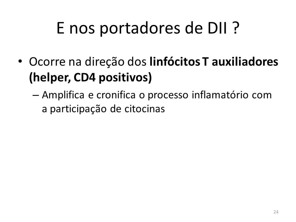 E nos portadores de DII ? Ocorre na direção dos linfócitos T auxiliadores (helper, CD4 positivos) – Amplifica e cronifica o processo inflamatório com
