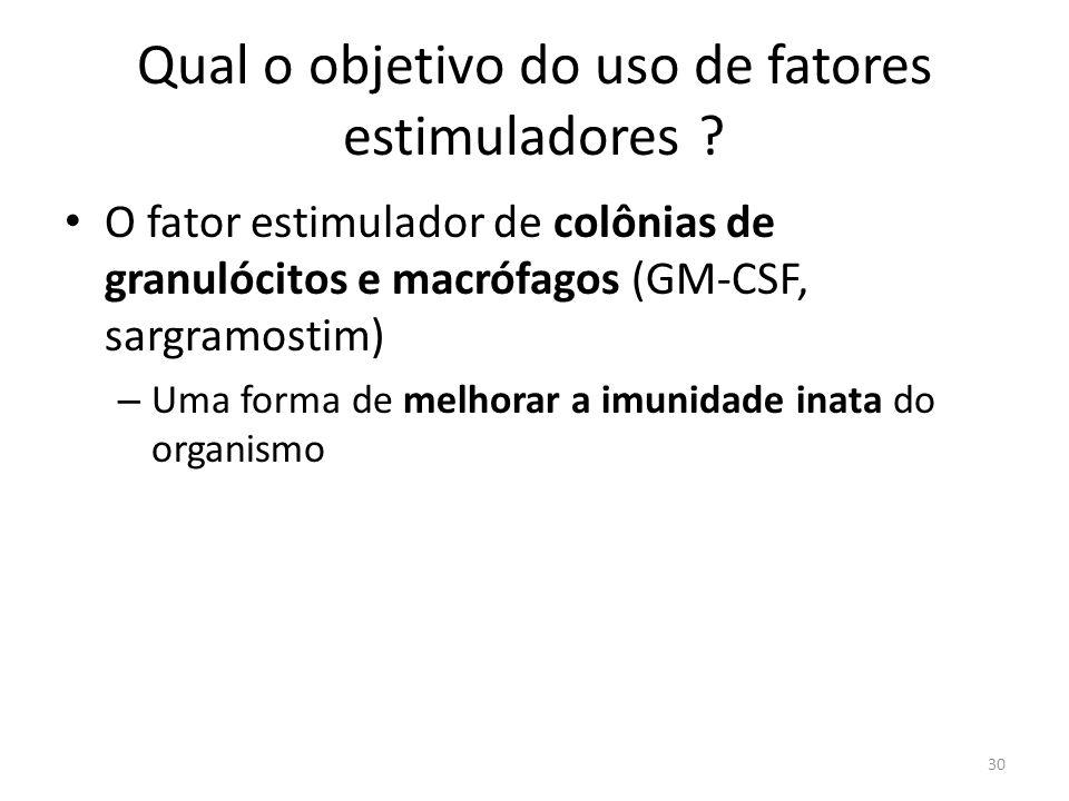 Qual o objetivo do uso de fatores estimuladores ? O fator estimulador de colônias de granulócitos e macrófagos (GM-CSF, sargramostim) – Uma forma de m