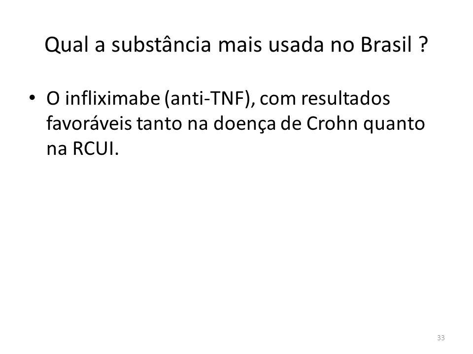 Qual a substância mais usada no Brasil ? O infliximabe (anti-TNF), com resultados favoráveis tanto na doença de Crohn quanto na RCUI. 33