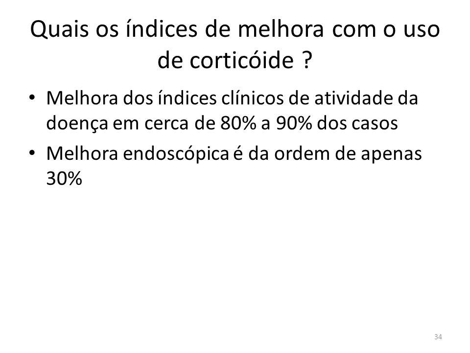 Quais os índices de melhora com o uso de corticóide ? Melhora dos índices clínicos de atividade da doença em cerca de 80% a 90% dos casos Melhora endo