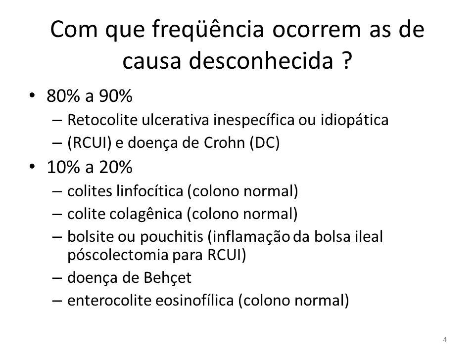 Com que freqüência ocorrem as de causa desconhecida ? 80% a 90% – Retocolite ulcerativa inespecífica ou idiopática – (RCUI) e doença de Crohn (DC) 10%