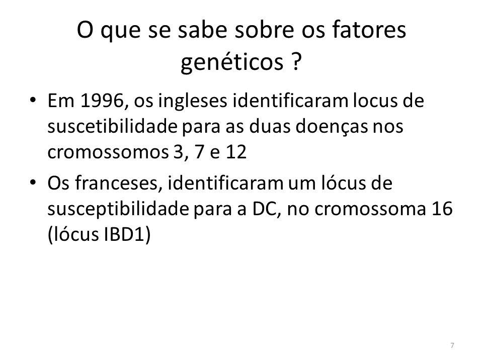 O que se sabe sobre os fatores genéticos ? Em 1996, os ingleses identificaram locus de suscetibilidade para as duas doenças nos cromossomos 3, 7 e 12