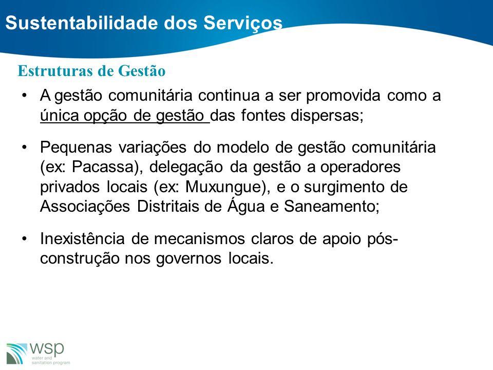 Sustentabilidade dos Serviços A gestão comunitária continua a ser promovida como a única opção de gestão das fontes dispersas; Pequenas variações do m