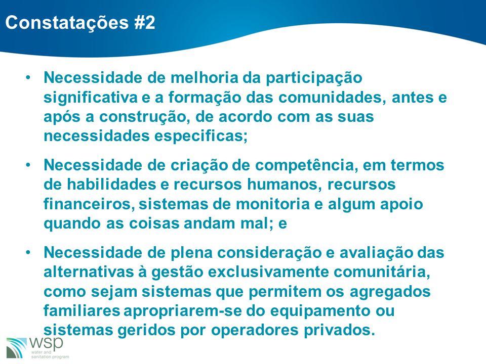 Constatações #2 Necessidade de melhoria da participação significativa e a formação das comunidades, antes e após a construção, de acordo com as suas n
