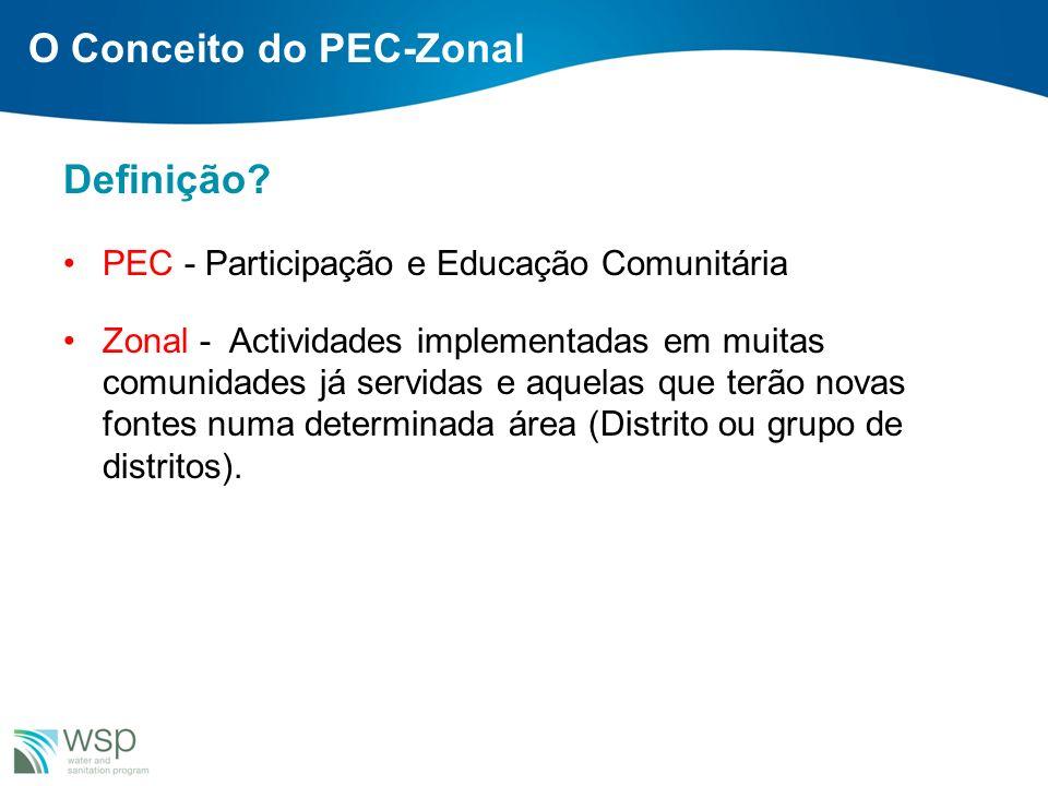 Definição? PEC - Participação e Educação Comunitária Zonal - Actividades implementadas em muitas comunidades já servidas e aquelas que terão novas fon