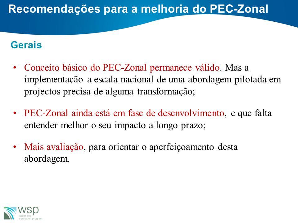 Recomendações para a melhoria do PEC-Zonal Gerais Conceito básico do PEC-Zonal permanece válido. Mas a implementação a escala nacional de uma abordage