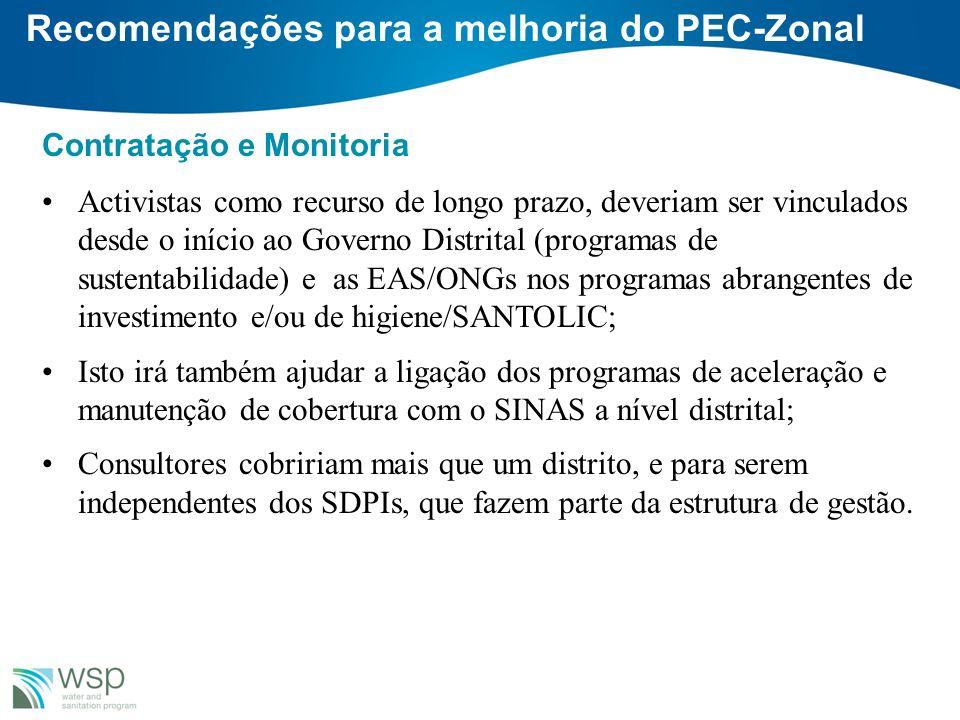 Recomendações para a melhoria do PEC-Zonal Contratação e Monitoria Activistas como recurso de longo prazo, deveriam ser vinculados desde o início ao G
