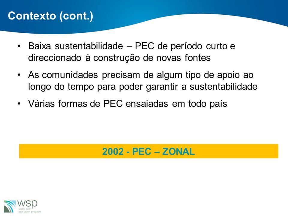 Viabilidade Institucional do PEC- Zonal PEC-Zonal é consistente com a Política de Águas, a Lei da Água (Lei n°16/91 de 03 de Agosto de 1991), a LOLE (Lei 8/2003 de 19 de Maio – Lei dos Órgãos Locais do Estado e o Decreto 11/2005 de 10 de Junho – Regulamento da Lei dos Órgãos Locais do Estado), o Plano Estratégico de Água e Saneamento Rural (PESA- ASR) 2006 -2015 e o PRONASAR.
