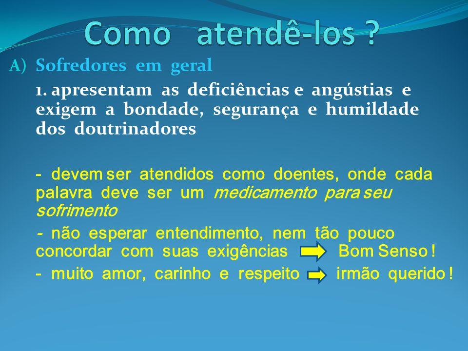 A) Sofredores em geral 1. apresentam as deficiências e angústias e exigem a bondade, segurança e humildade dos doutrinadores - devem ser atendidos com