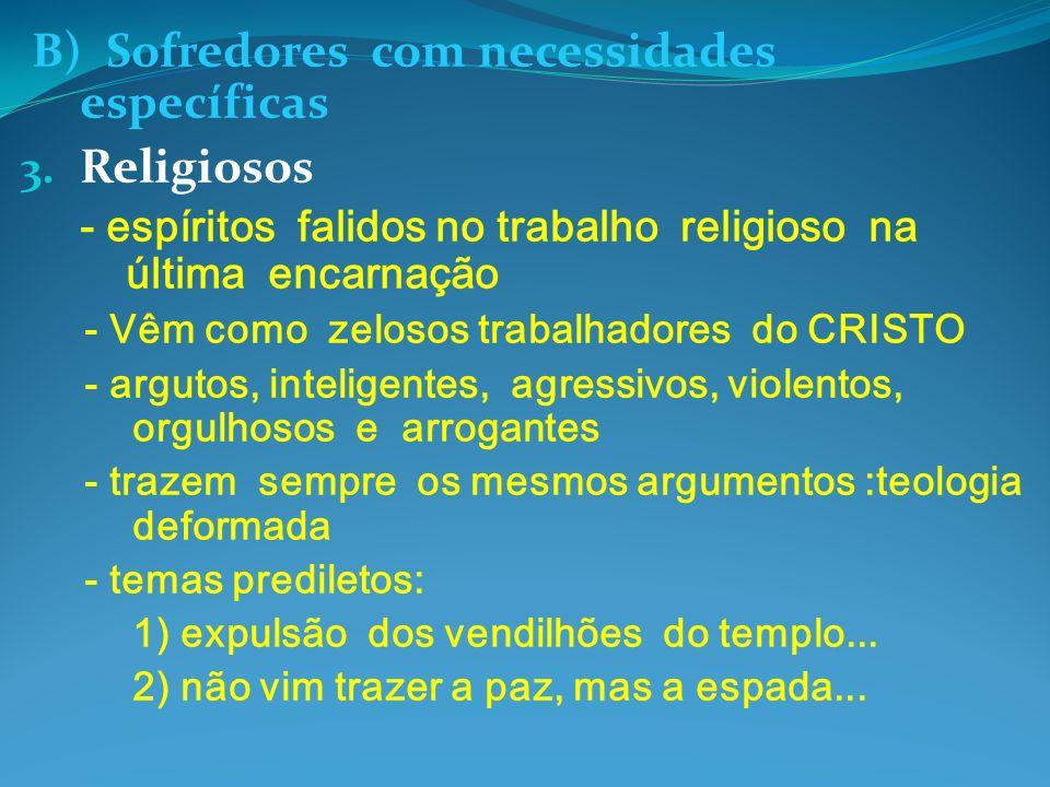 B) Sofredores com necessidades específicas 3. Religiosos - espíritos falidos no trabalho religioso na última encarnação - Vêm como zelosos trabalhador