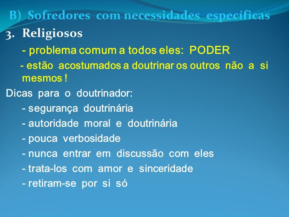 B) Sofredores com necessidades específicas 3.Religiosos - problema comum a todos eles: PODER - estão acostumados a doutrinar os outros não a si mesmos