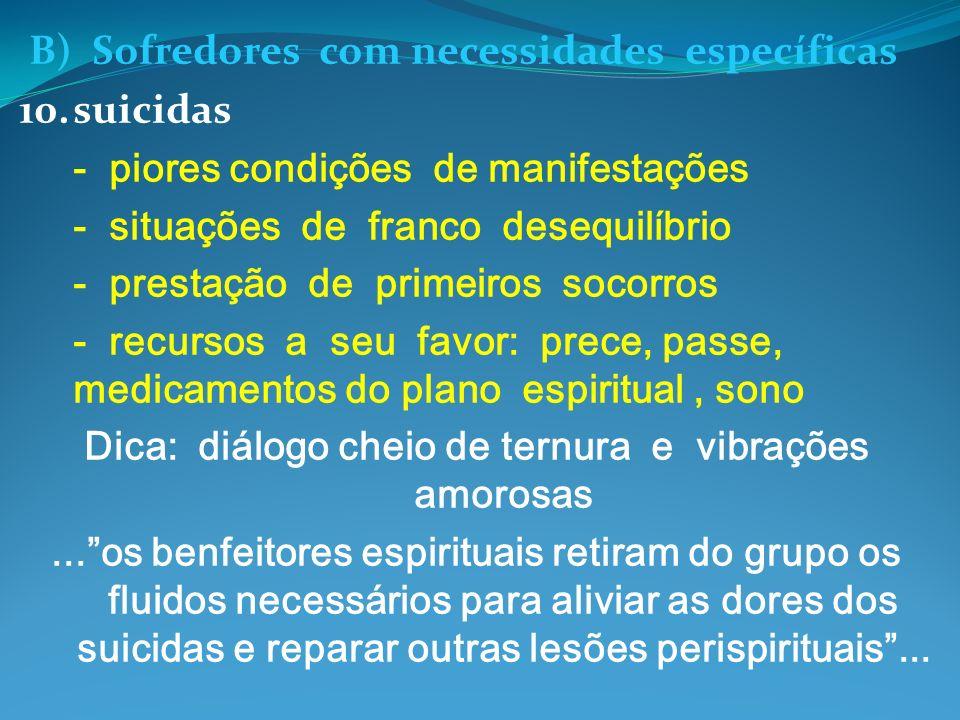 B) Sofredores com necessidades específicas 10.suicidas - piores condições de manifestações - situações de franco desequilíbrio - prestação de primeiro