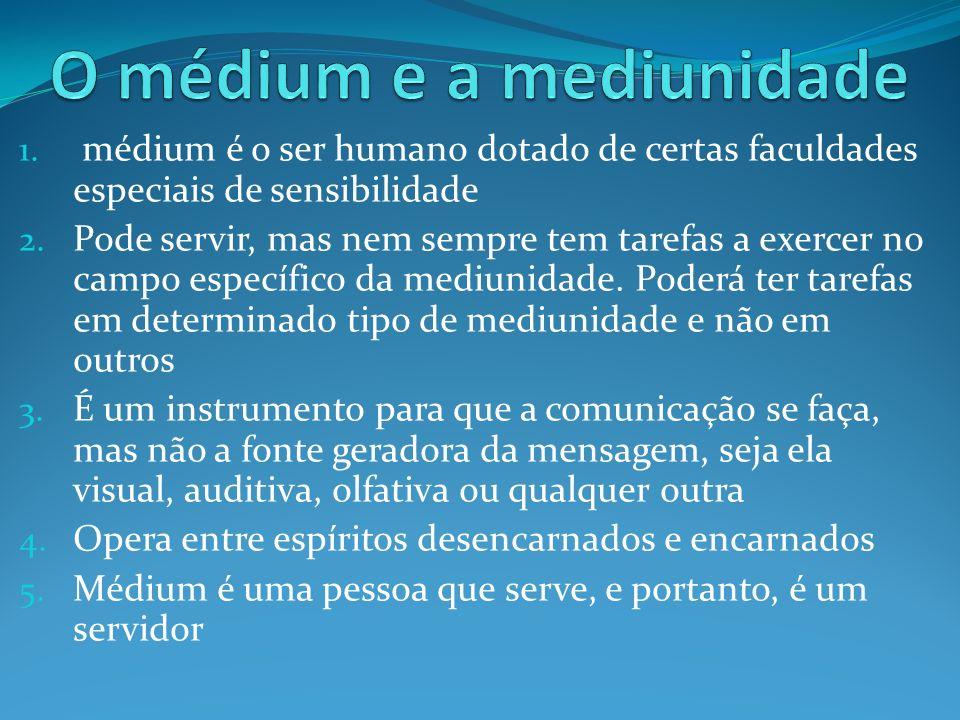 1. médium é o ser humano dotado de certas faculdades especiais de sensibilidade 2. Pode servir, mas nem sempre tem tarefas a exercer no campo específi