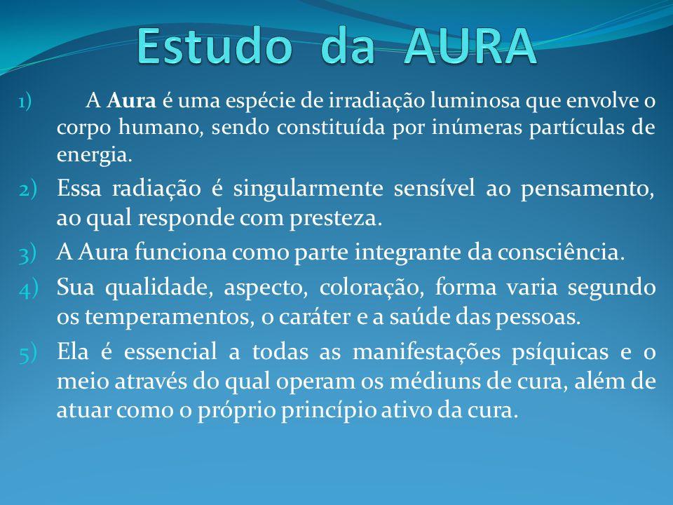 1) A Aura é uma espécie de irradiação luminosa que envolve o corpo humano, sendo constituída por inúmeras partículas de energia. 2) Essa radiação é si