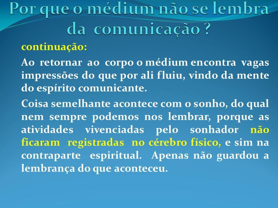 continuação: Ao retornar ao corpo o médium encontra vagas impressões do que por ali fluiu, vindo da mente do espírito comunicante. Coisa semelhante ac