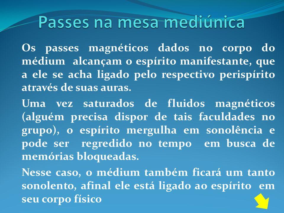 Os passes magnéticos dados no corpo do médium alcançam o espírito manifestante, que a ele se acha ligado pelo respectivo perispírito através de suas a