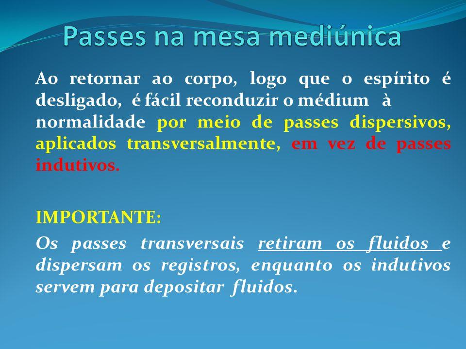 Ao retornar ao corpo, logo que o espírito é desligado, é fácil reconduzir o médium à normalidade por meio de passes dispersivos, aplicados transversal