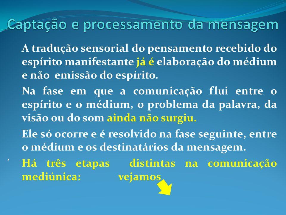 A tradução sensorial do pensamento recebido do espírito manifestante já é elaboração do médium e não emissão do espírito. Na fase em que a comunicação