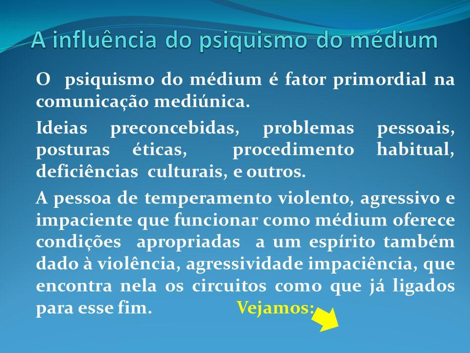 O psiquismo do médium é fator primordial na comunicação mediúnica. Ideias preconcebidas, problemas pessoais, posturas éticas, procedimento habitual, d