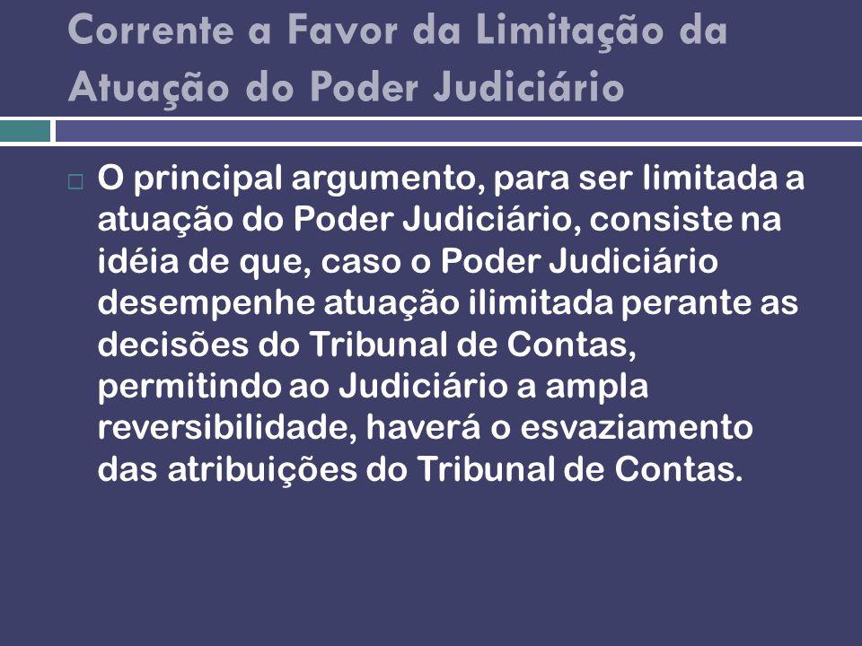 Corrente a Favor da Limitação da Atuação do Poder Judiciário O principal argumento, para ser limitada a atuação do Poder Judiciário, consiste na idéia