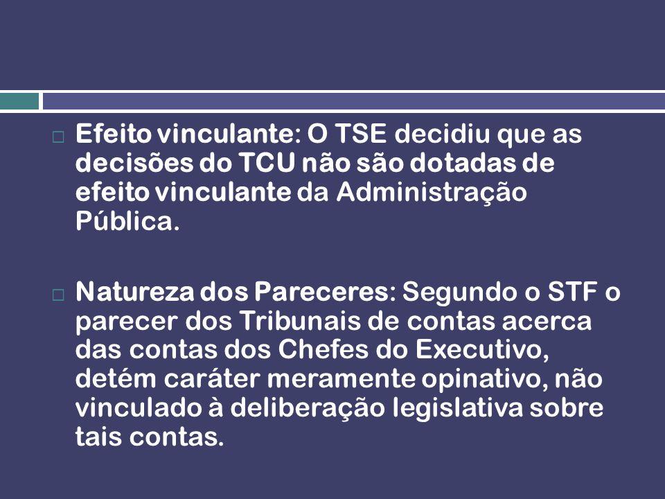 Efeito vinculante: O TSE decidiu que as decisões do TCU não são dotadas de efeito vinculante da Administração Pública. Natureza dos Pareceres: Segundo