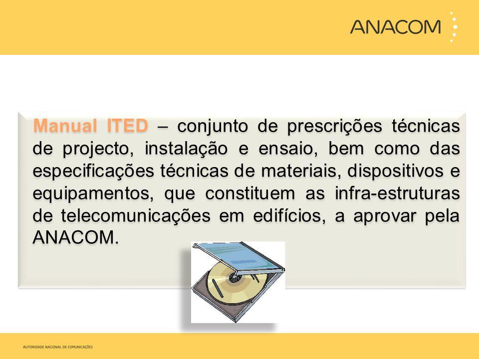 Manual ITED – conjunto de prescrições técnicas de projecto, instalação e ensaio, bem como das especificações técnicas de materiais, dispositivos e equ