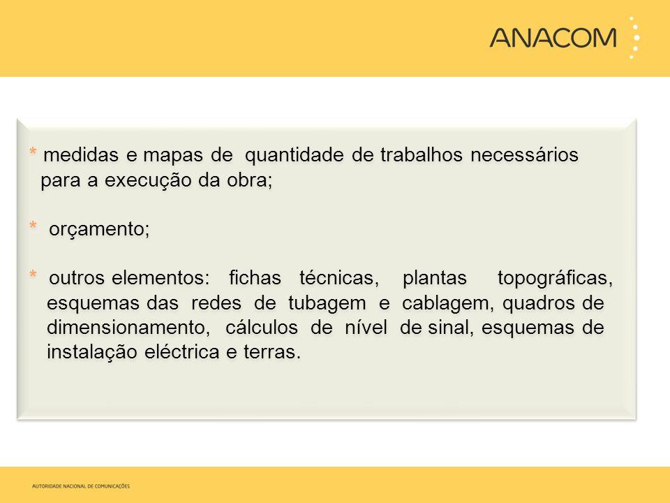 * medidas e mapas de quantidade de trabalhos necessários para a execução da obra; * orçamento; * outros elementos: fichas técnicas, plantas topográfic