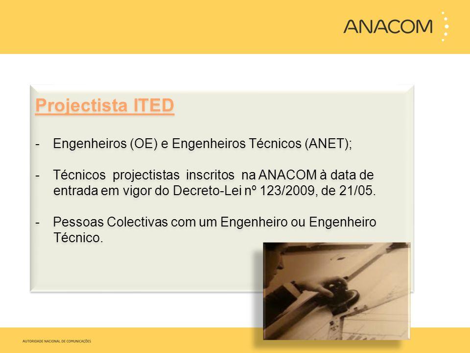 Projectista ITED -Engenheiros (OE) e Engenheiros Técnicos (ANET); -Técnicos projectistas inscritos na ANACOM à data de entrada em vigor do Decreto-Lei