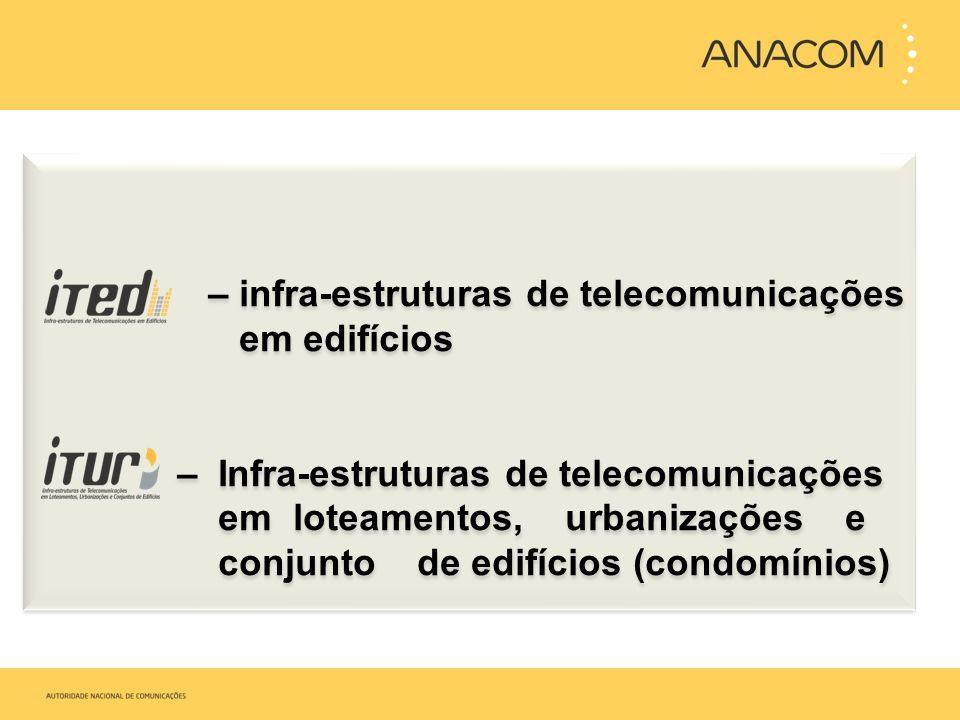 – infra-estruturas de telecomunicações em edifícios – Infra-estruturas de telecomunicações em loteamentos, urbanizações e conjunto de edifícios (condo