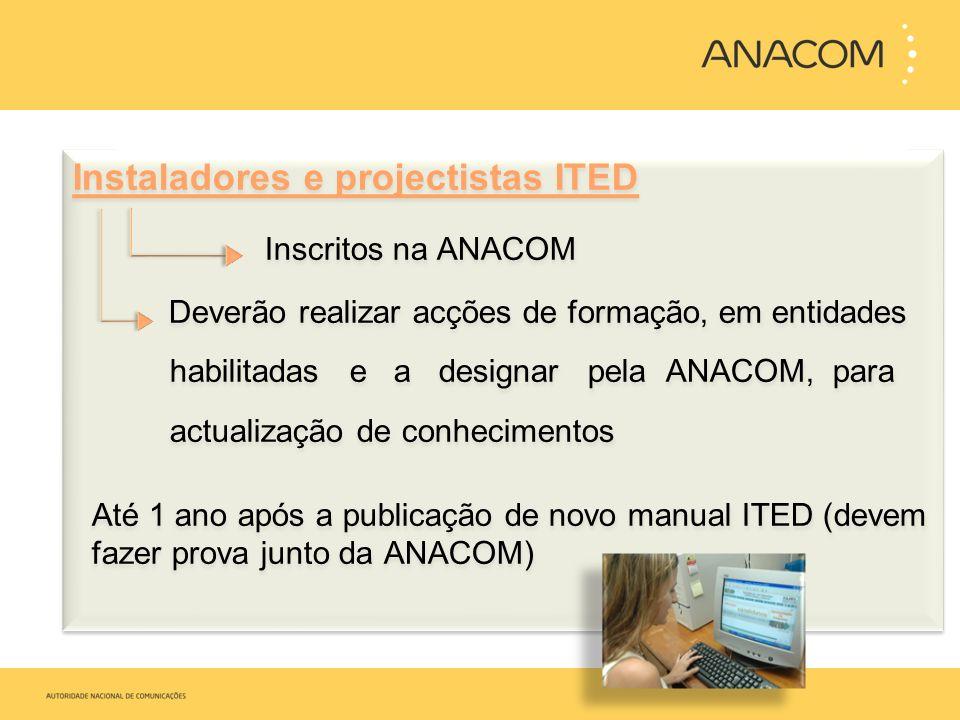 Instaladores e projectistas ITED Inscritos na ANACOM Deverão realizar acções de formação, em entidades habilitadas e a designar pela ANACOM, para actu
