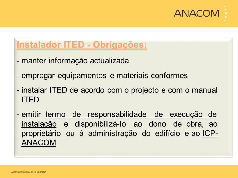 Instalador ITED - Obrigações: - manter informação actualizada - empregar equipamentos e materiais conformes - instalar ITED de acordo com o projecto e