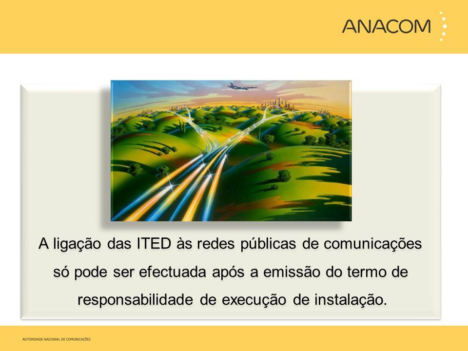 A ligação das ITED às redes públicas de comunicações só pode ser efectuada após a emissão do termo de responsabilidade de execução de instalação. A li