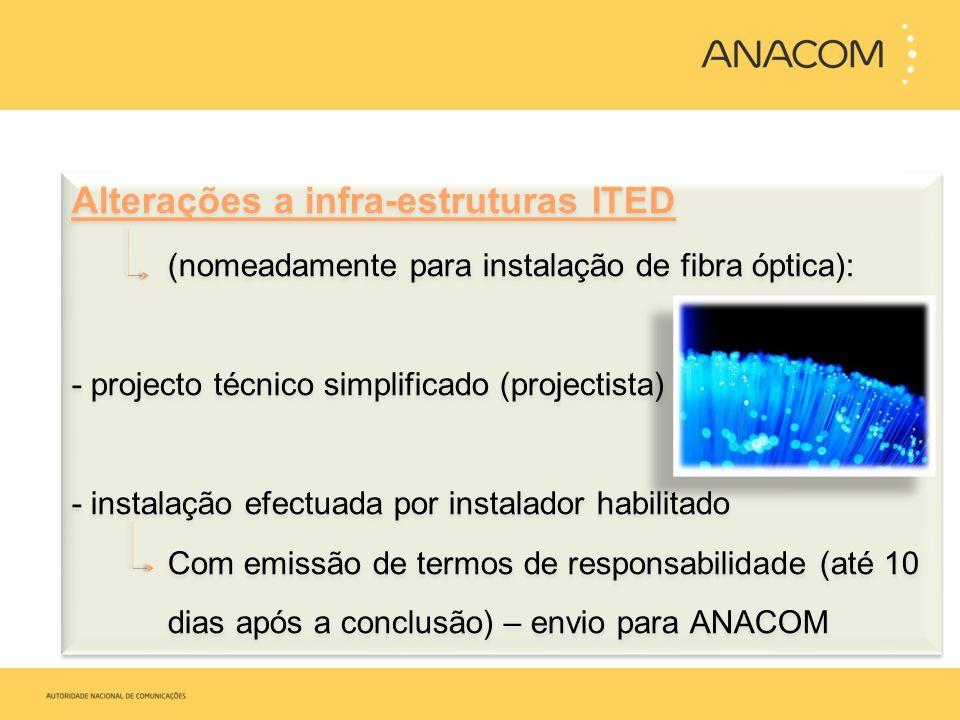Alterações a infra-estruturas ITED (nomeadamente para instalação de fibra óptica): -projecto técnico simplificado (projectista) - instalação efectuada