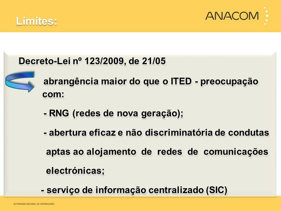 Limites: Decreto-Lei nº 123/2009, de 21/05 Decreto-Lei nº 123/2009, de 21/05 abrangência maior do que o ITED - preocupação com: abrangência maior do q