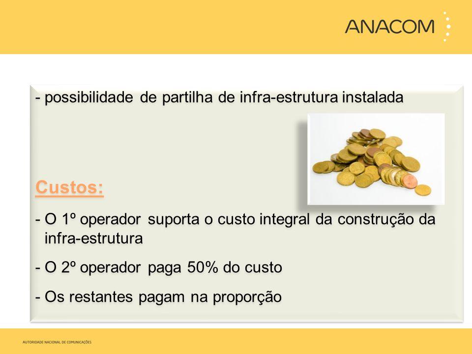 -possibilidade de partilha de infra-estrutura instalada Custos: - O 1º operador suporta o custo integral da construção da infra-estrutura - O 2º opera