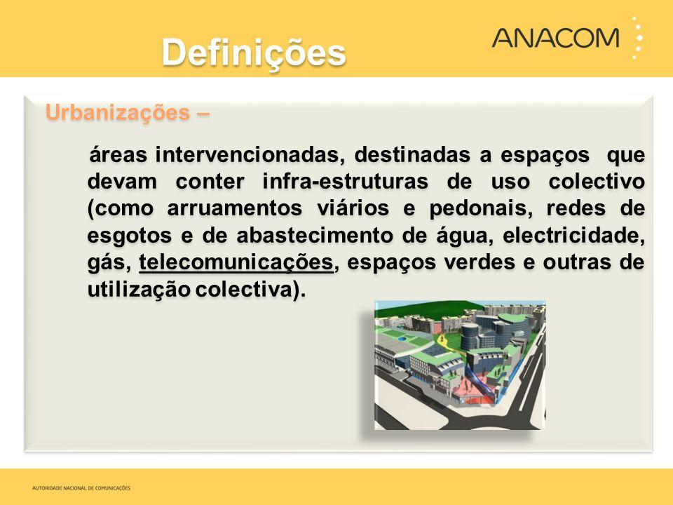 Definições Urbanizações – áreas intervencionadas, destinadas a espaços que devam conter infra-estruturas de uso colectivo (como arruamentos viários e