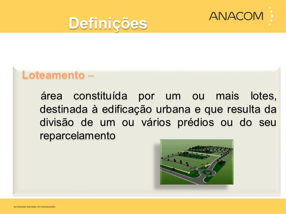 Definições Loteamento – área constituída por um ou mais lotes, destinada à edificação urbana e que resulta da divisão de um ou vários prédios ou do se